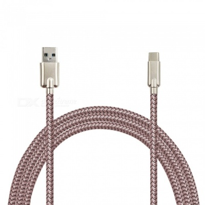 Mini Smile 3.4A Zinc Alloy Quick Charge USB3.1 Type-C Charging / Data Transfer Cable for Samsung Galaxy S9 / S9 Plus - Rose Gold