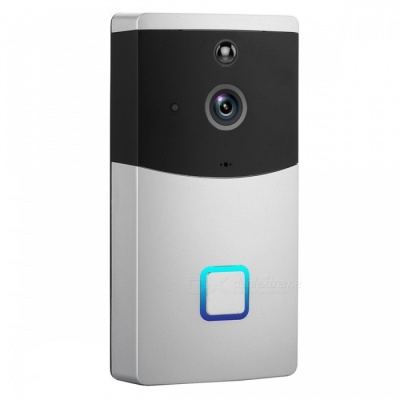 Napok Smart Wi-Fi Video Doorbell w/ 720P HD Security Camera, Real-Time Two-Way Talk and Video - Silver