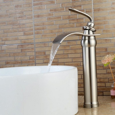 Brass Deck Mounted Ceramic Valve One Hole Nickel Brushed, Bathroom Sink Faucet w/ Single Handle