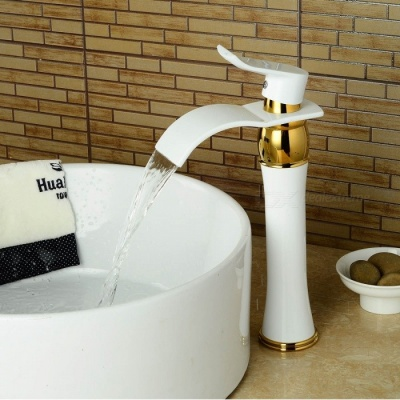 Brass Deck Mounted Ceramic Valve One Hole White Spray Paint, Bathroom Sink Faucet w/ Single Handle