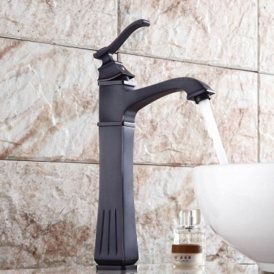 Brass Deck Mounted Ceramic Valve One Hole Oil-rubbed Bronze, Bathroom Sink Faucet w/ Single Handle