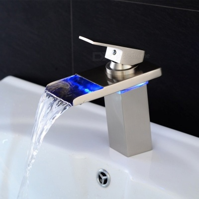 LED RGB Brass Deck Mounted Ceramic Valve One Hole Nickel Brushed, Bathroom Sink Faucet w/ Single Handle
