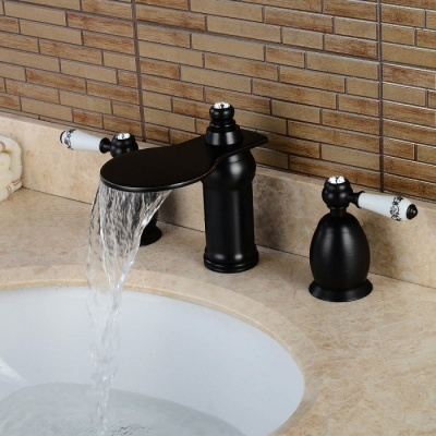 Brass Waterfall Ceramic Valve Three Holes Oil-rubbed Bronze, Bathroom Sink Faucet w/ Two Handles - Black