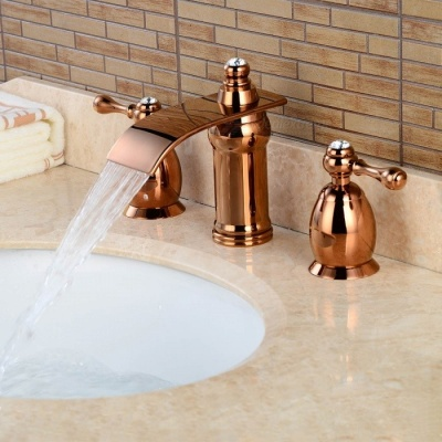 Brass Waterfall Ceramic Valve Three Holes Rose Gold, Bathroom Sink Faucet w/ Two Handles - Rose Gold