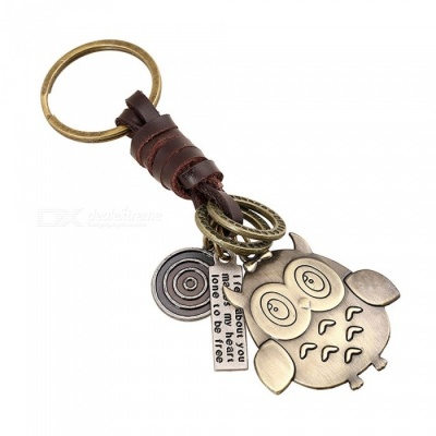 Creative Cute  Owl Pendant Knitted Cowhide Leather Key Ring - Brown
