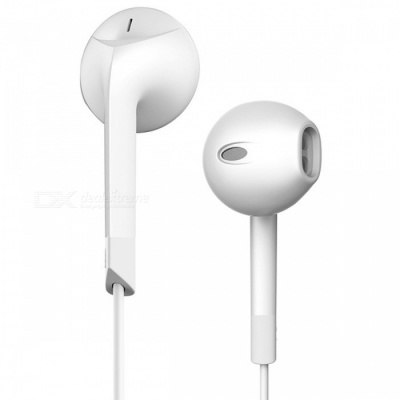 P6 Noise Canceling Headset Earphone, 3.5mm Wired Stereo Earbuds with Microphone - White