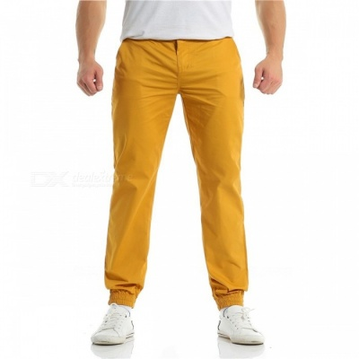 Summer Men's Cotton Casual Ankle Banded Pants Trousers - Yellow (L)