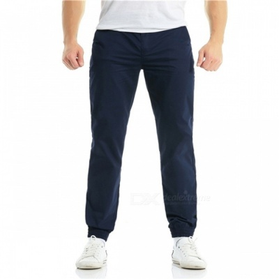 Summer Men's Cotton Casual Ankle Banded Pants Trousers - Navy Blue (L)
