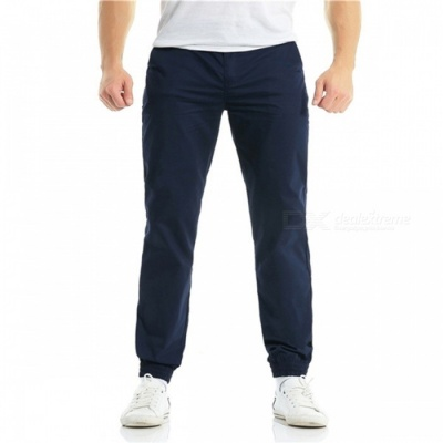 Summer Men's Cotton Casual Ankle Banded Pants Trousers - Navy Blue (M)