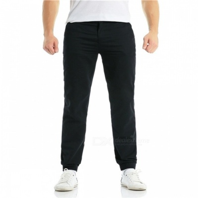 Summer Men's Cotton Casual Ankle Banded Pants Trousers - Black (XL)