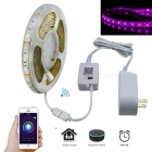 Jiawen 5M 35W 300-5050 SMD RGB LED Strip Light Smart Home Decoration Light with Wi-Fi Control and Power Adapter