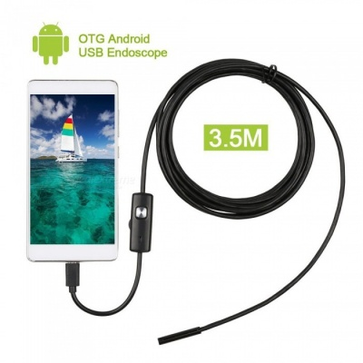 6-LED 5.5mm Lens Waterproof USB HD Android Endoscope Industrial Probe Mini Inspection Camera - Black (3.5m)