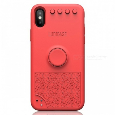 Ludicase Fidget Relieving Spinner Toy Protective Soft Silicone Back Cover Case for IPHONE X - Tropical Red