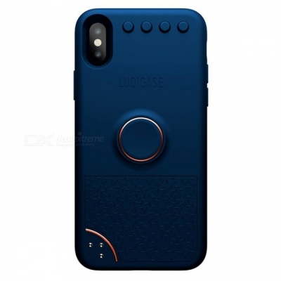 Ludicase Fidget Relieving Spinner Toy Protective Soft Silicone Back Cover Case for IPHONE X - Navy Blue