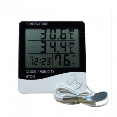 ZHAOYAO HTC Indoor and Outdoor Dual Display Large Screen Digital Display Electronic Hygrometer Household Temperature Meter