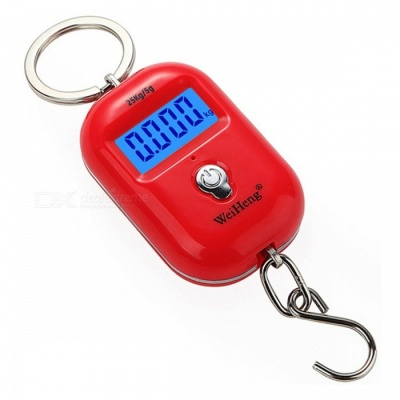 WH-A21 Portable Dual Accuracy Mini Pocket Luggage Digital Electronic Scale 25kg/5g - Red