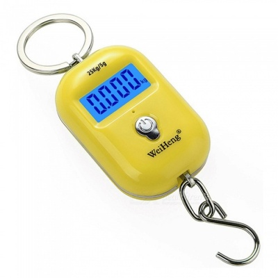 WH-A21 Portable Dual Accuracy Mini Pocket Luggage Digital Electronic Scale 25kg/5g- Yellow