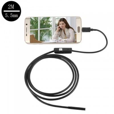 6-LED 5.5mm Lens Waterproof USB HD Android Endoscope Industrial Probe Mini Inspection Camera - Black (2m)