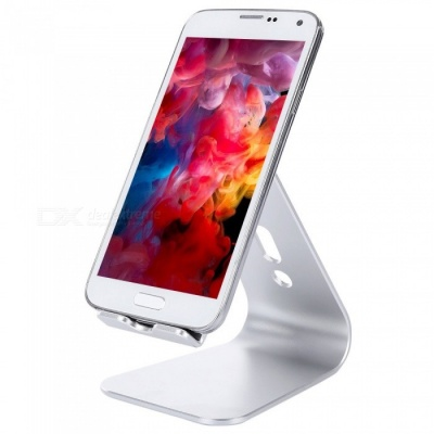 Aluminum Alloy Lazy Person Mobile Phone Tablet Stand Bracket with Charging Holes - Silver