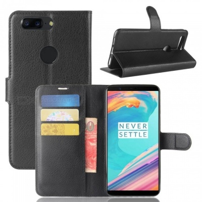 PU Leather Full Cover Wallet Phone Case for OnePlus 5T - Black