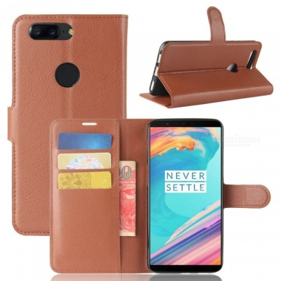 PU Leather Full Cover Wallet Phone Case for OnePlus 5T - Brown