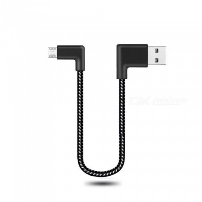 Cwxuan 20cm Micro USB Fast Charge Nylon Cord 90 Degree L Bending Data Sync Cable for Xiaomi, Huawei, Vivo, Samsung