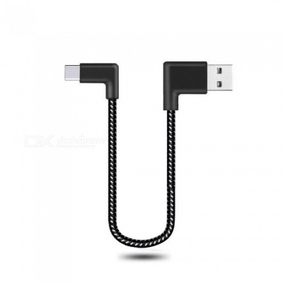 Cwxuan 20cm Type-C Reversible Fast Charge Nylon Cord 90 Degree L Bending Data Sync Cable for Xiaomi, Huawei, Vivo, Samsung