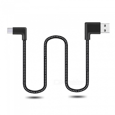 Cwxuan 100cm Type-C Reversible Fast Charge Nylon Cord 90 Degree L Bending Data Sync Cable for Xiaomi, Huawei, Vivo, Samsung