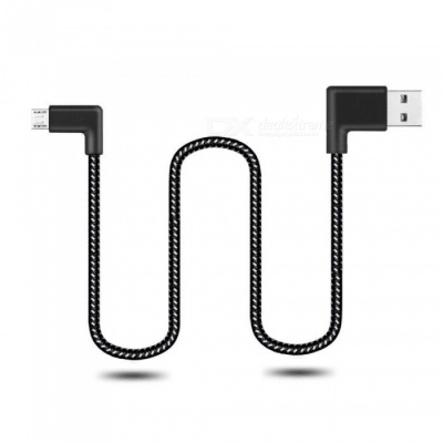 Cwxuan 100cm Micro USB Fast Charge Nylon Cord 90 Degree L Bending Data Sync Cable for Xiaomi, Huawei, Vivo, Samsung