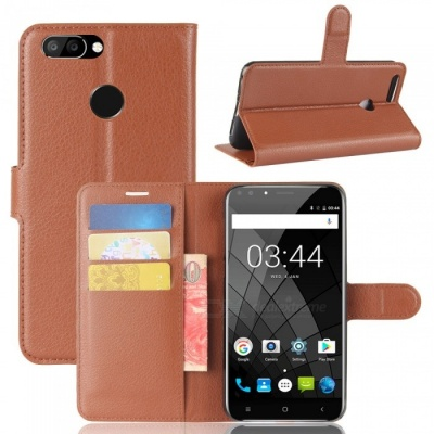 Protective Flip Open Full Body Case w/ Stand for Oukitel U22 - Brown