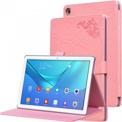 Protective PC + PU Full Body Case Cover with Stand for HUAWEI M5 PRO Tablet 10.8 inch - Pink