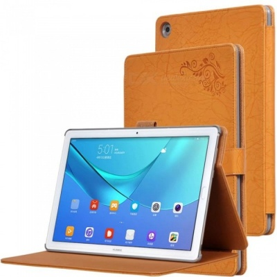 Protective PC + PU Full Body Case Cover with Stand for HUAWEI M5 PRO Tablet 10.8 inch - Brown