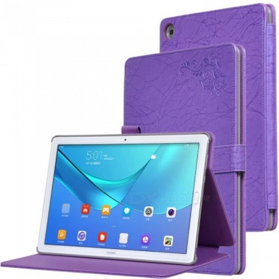 Protective PC + PU Full Body Case Cover with Stand for HUAWEI M5 PRO Tablet 10.8 inch - Purple