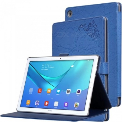 Protective PC + PU Full Body Case Cover with Stand for HUAWEI M5 PRO Tablet 10.8 inch - Blue