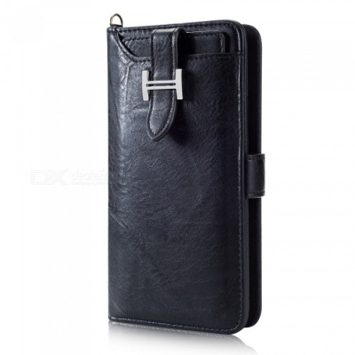 Measy Fashionable PU Leather Wallet Style Protective Case for Samsung Galaxy S9 Plus - Black