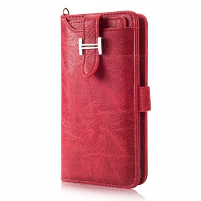 Measy Fashionable PU Leather Wallet Style Protective Case for Samsung Galaxy S9 Plus - Red