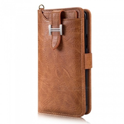 Measy Fashionable PU Leather Wallet Style Protective Case for Samsung Galaxy S9 Plus - Brown