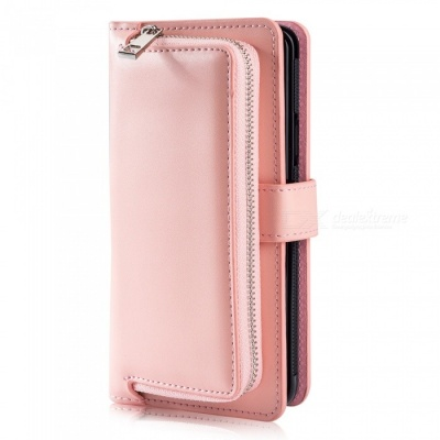Measy Fashionable PU Leather Wallet Case with Zipper Bag for Samsung Galaxy S9 Plus - Pink