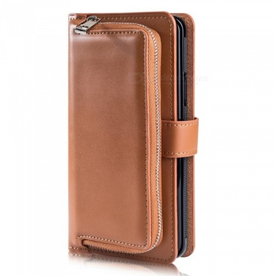Measy Fashionable PU Leather Wallet Case with Zipper Bag for Samsung Galaxy S9 Plus - Brown