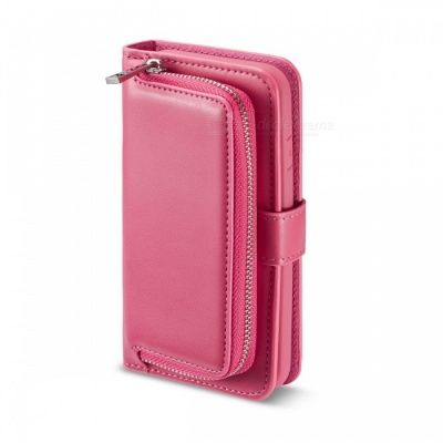 Measy Premium PU Leather Wallet Case with Zipper Bag for Samsung Galaxy S8 - Deep Pink