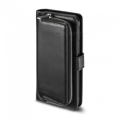 Measy Fashionable PU Leather Wallet Case with Zipper Bag for Samsung Galaxy S8 Plus - Black