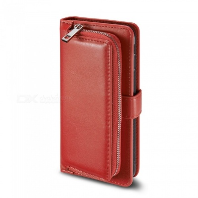 Measy Premium PU Leather Wallet Case with Zipper Bag for Samsung Galaxy S8 Plus - Red