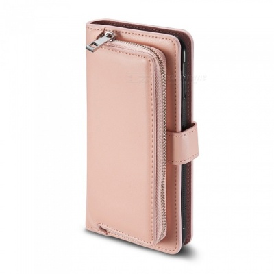 Measy Premium PU Leather Wallet Case with Zipper Bag for Samsung Galaxy S8 Plus - Pink
