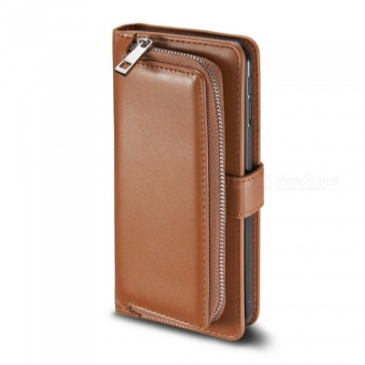 Measy Fashionable PU Leather Wallet Case with Zipper Bag for Samsung Galaxy S8 Plus - Brown