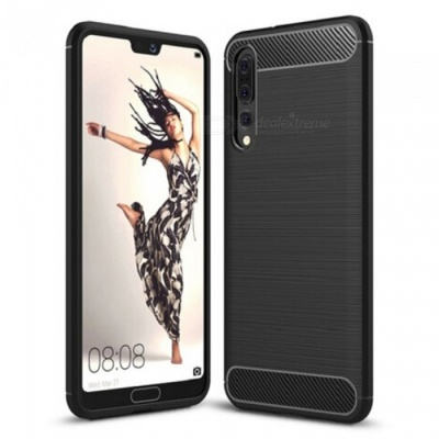 Naxtop Wire Drawing Carbon Fiber Textured TPU Brushed Finish Soft Phone Back Cover Case For Huawei P20 Pro