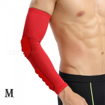 Outdoor Basketball Football Badminton Playing Protective Arm Elbow Sleeve for Men - Red (M)