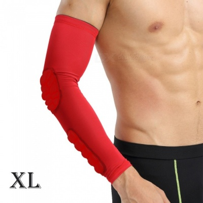 Outdoor Basketball Football Badminton Playing Protective Arm Elbow Sleeve for Men - Red (XL)