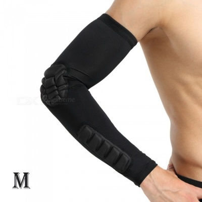 Outdoor Basketball Football Badminton Playing Protective Arm Elbow Sleeve for Men - Black (M)