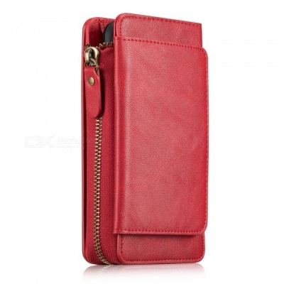 Measy Fashionable PU Leather Wallet Case with Zippered Bag for Samsung Galaxy S9 - Red