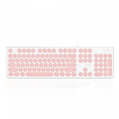 AK325 Retro Mechanical Feeling USB 3.0 Wired Keyboard with Backlight for Office Working, Game Playing - Pink